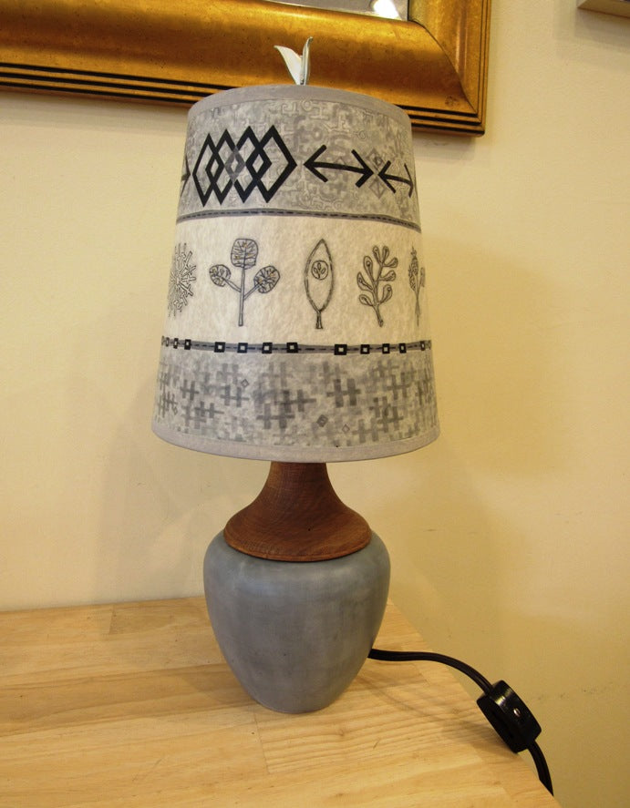 Janna Ugone Ceramic & Maple Table Lamp with Woven Sprig in Mist Shade