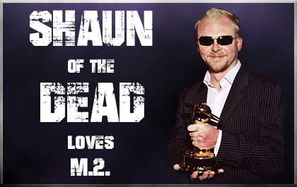 Shaun of the Dead star Simon Pegg wearing matrix sunglasses