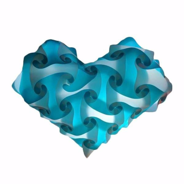 Heart Teal Single Color Lamps Puzzle Lights