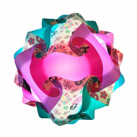Printed Kit Lady Bug Teal / Pink  / Lavender  Puzzle Lamp 3D Puzzle IQ lights