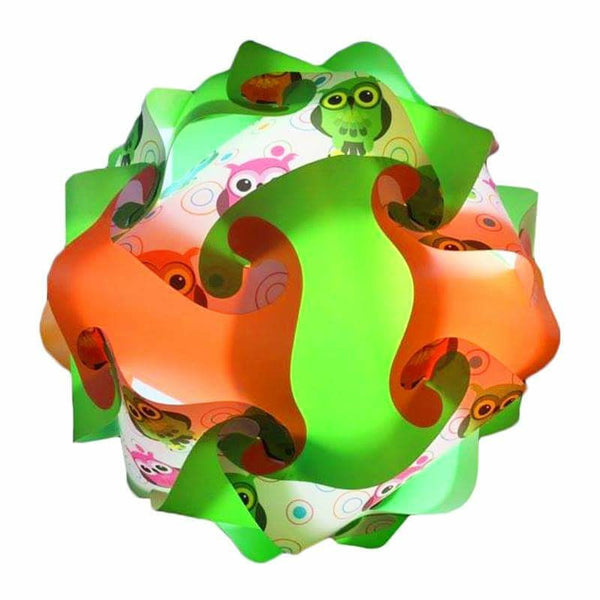 Printed Kit Owl Green / Orange / White  Puzzle Lamp 3D Puzzle IQ lights