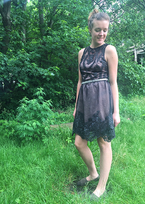 black lace princess seam dress
