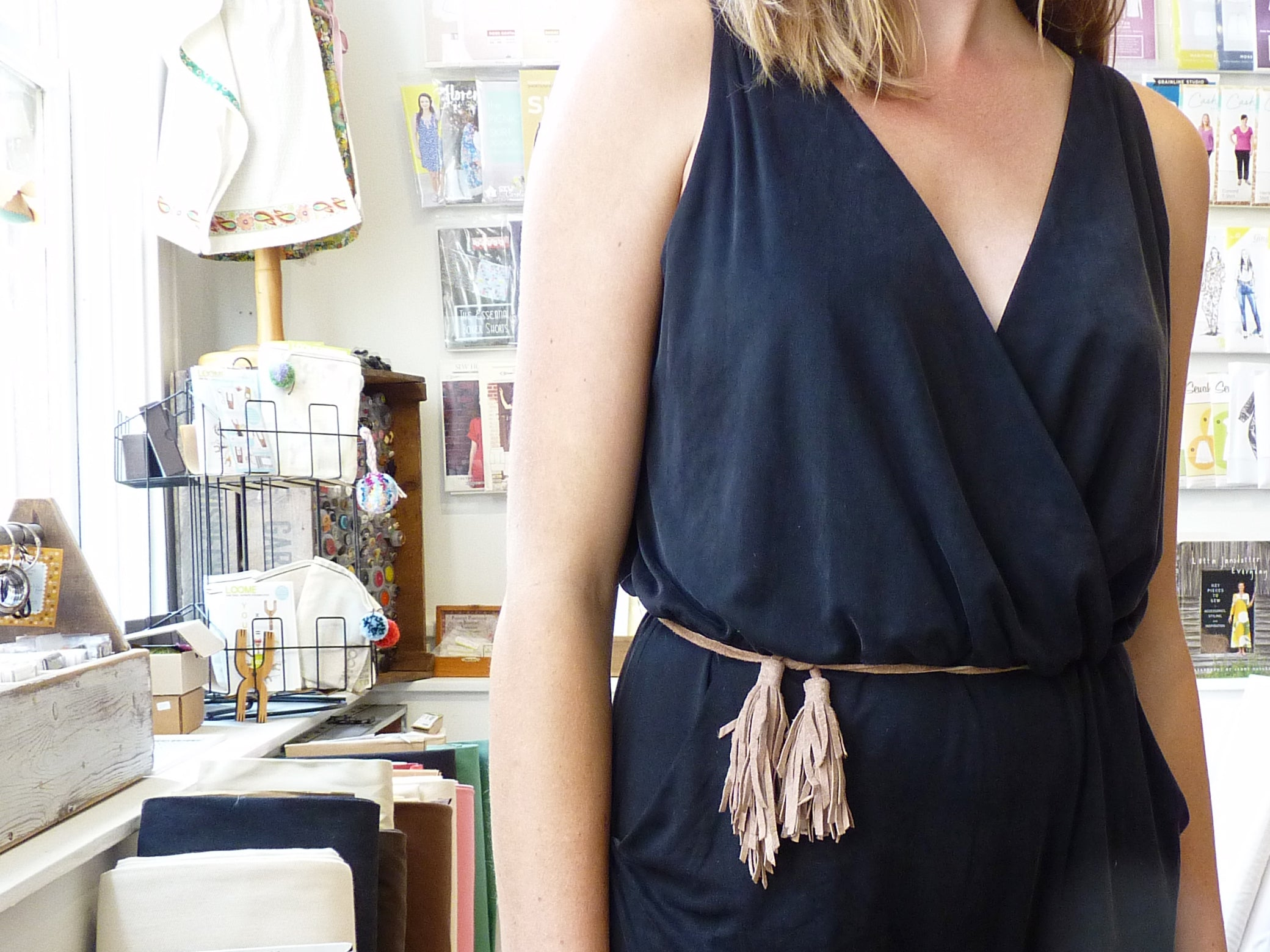 black knit cupro jumpsuit