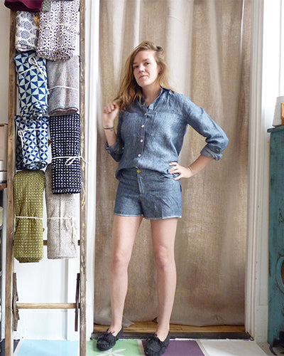 linen grainline archer shirt and linen grainline maritime shorts