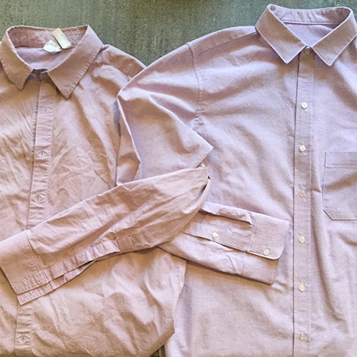 3 buttons Body tight collar shirt Cheese cloth,white...size L