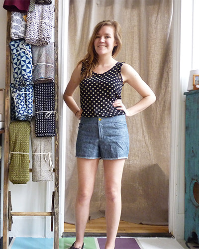 linen denim grainline maritime shorts