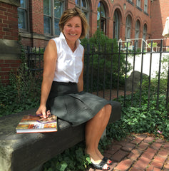 Nan wearing the Study Hall Skirt outside the Old Schoolhouse!
