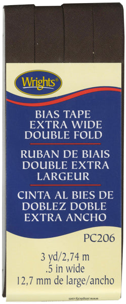 Extra Wide Double Fold Bias Tape Seal Brown