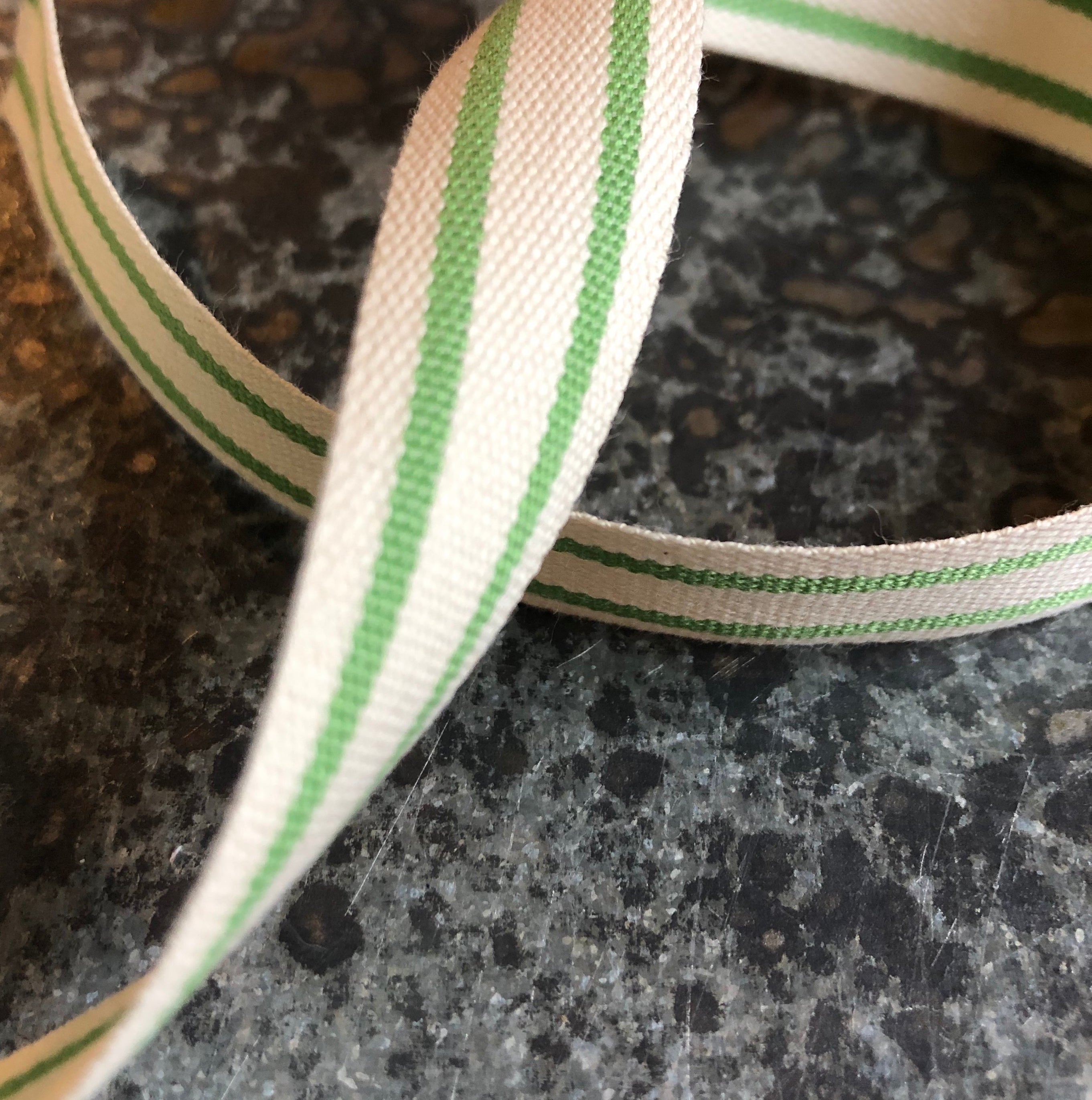 May Arts Ribbon : Organic Cotton Blend Celery Stripes