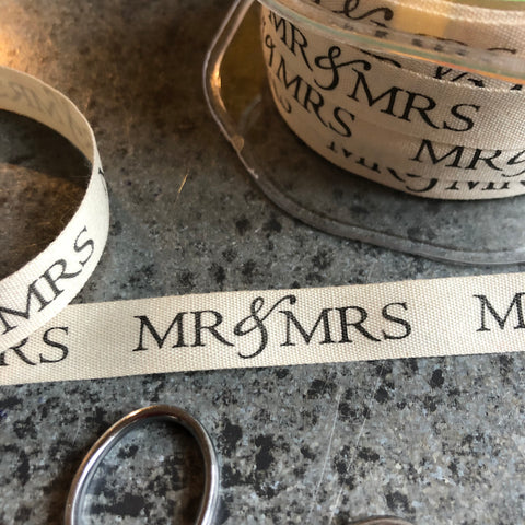 May Arts Ribbon : Ivory Canvas Ribbon - Mr & Mrs
