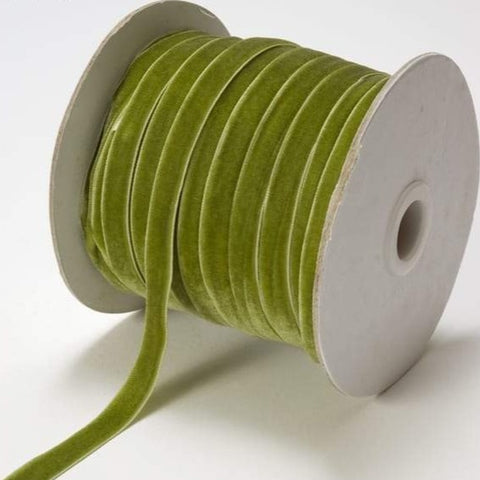"3/8"" wide green velvet ribbon"