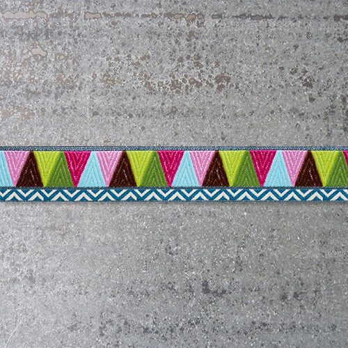 Amy Butler Ribbon : Mosaic - Brown / Pink / Green jacquard ribbon