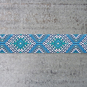 Amy Butler Ribbon : Blue & Camel Blanket jacquard ribbon
