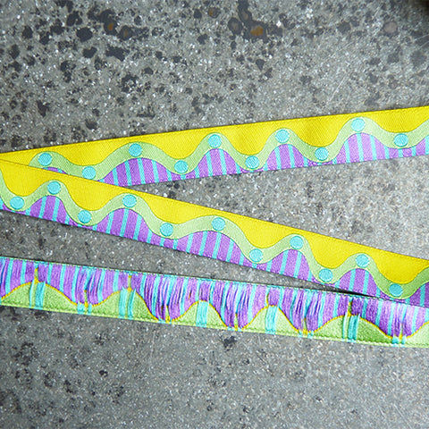 zecca ribbon wavy dots yellow green purple stripes