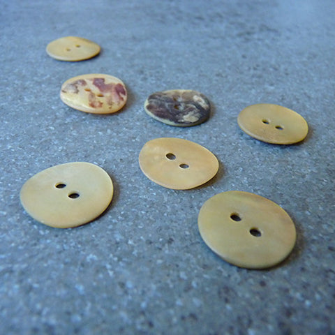 matte agoya beige button