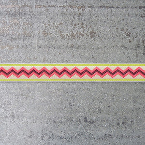 Anna Maria Ribbon : Meander - Ladylike - Coral on Green jacquard ribbon
