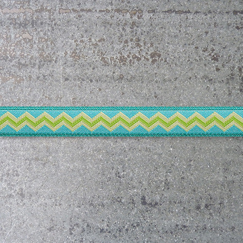 Anna Maria Ribbon : Meander - Lime Water - Lime on Aqua jacquard ribbon