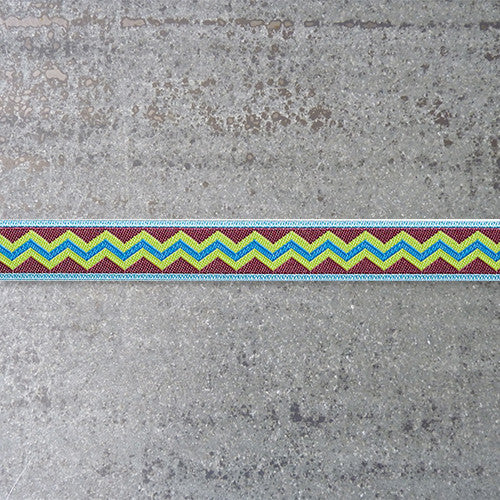 Anna Maria Ribbon : Meander - Folksy - Aqua on Brown jacquard ribbon