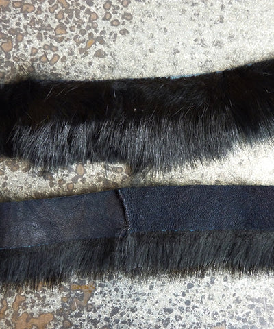 Vintage Rabbit Fur Trim - Black 2""