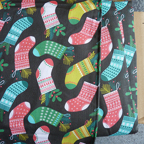 Blend Fabrics : Sweater Stockings - Brown christmas holiday quilting cotton