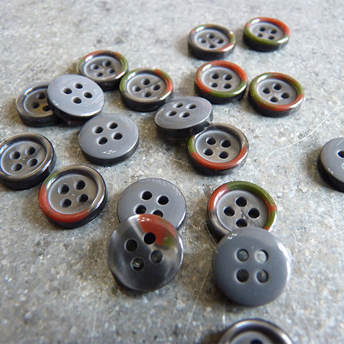 four hole shirt button colored rim gray