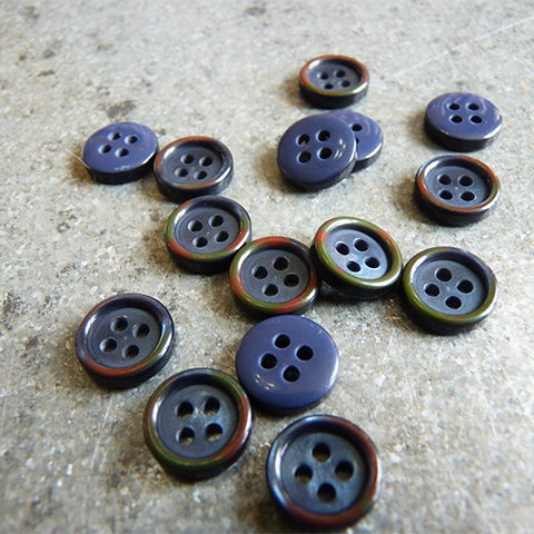 four hole shirt button colored rim navy