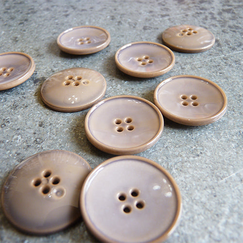 four hole plastic button taupe brown