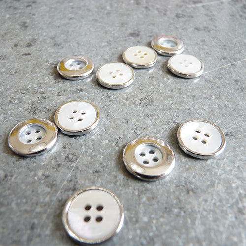 mother of pearl metal rim four hole shirt button