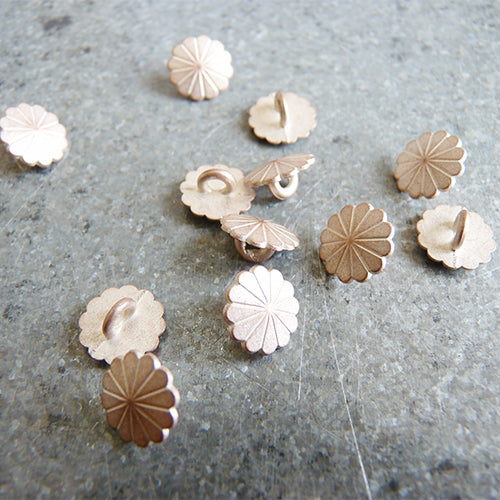 flower petal rose gold metal shank button