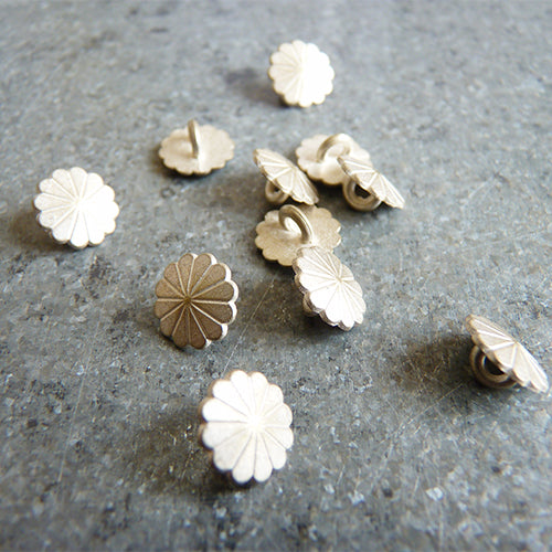 flower petal gold metal shank button