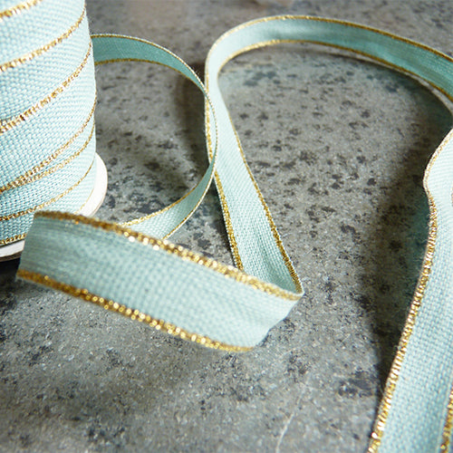 studio carta drittofilo cotton ribbon pool aqua gold