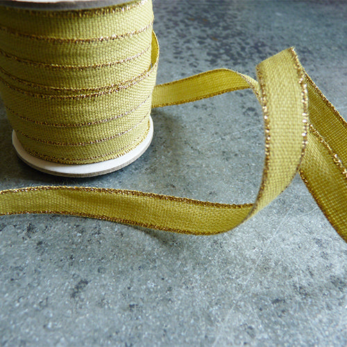 Studio Carta : Drittofilo Cotton Ribbon - Chartreuse / Gold