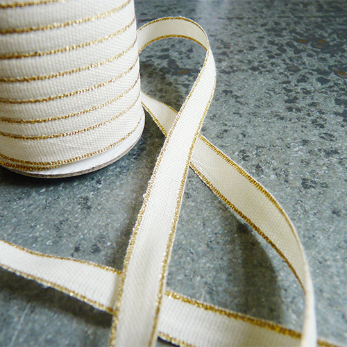 Studio Carta : Drittofilo Cotton Ribbon - Natural / Gold