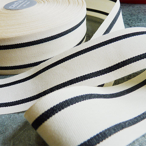 Studio Carta : Striped Cotton Ribbon - Natural / Black