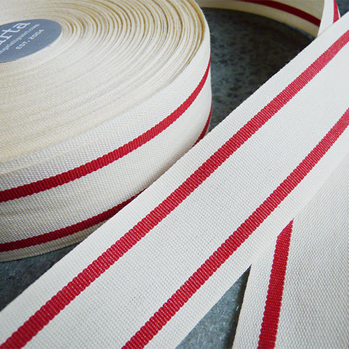 Studio Carta : Striped Cotton Ribbon - Natural / red