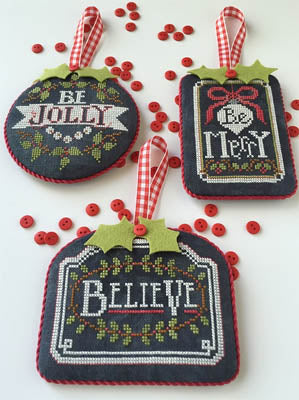 Counted Cross Stitch Pattern: Chalkboard Ornaments Part 1
