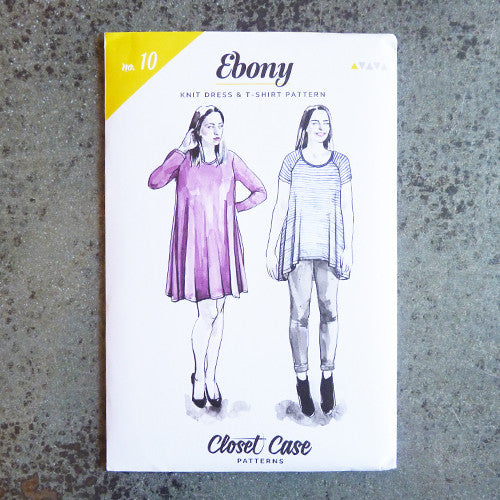 closet case ebony t-shirt and dress sewing pattern