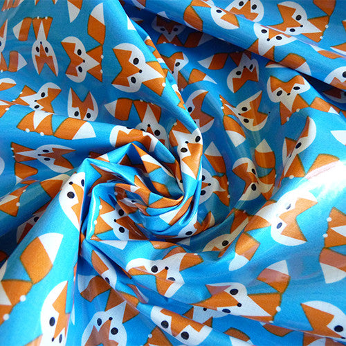 Cloud9 Organic Fabric : Fox Laminate - Blue Thumbnail