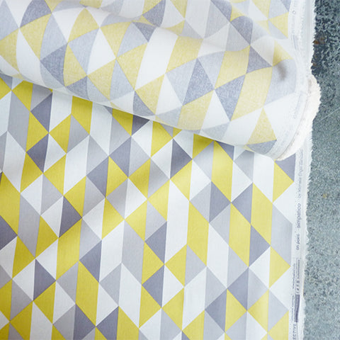 cloud9 organic coated cotton yellow gray diamonds