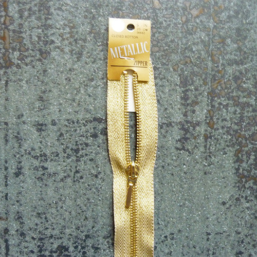 "Coats Metallic Zipper - 9"" brass"