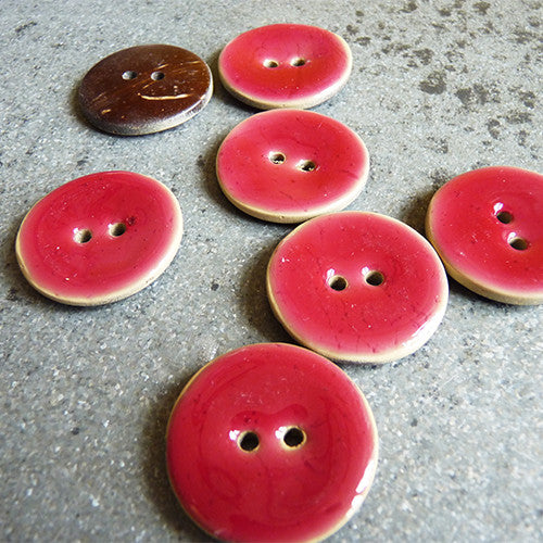 cconut resin button raspberry