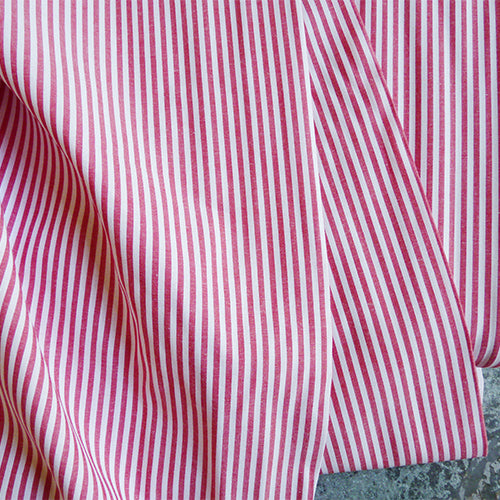 Cotton Stripe Shirting - Berry Red