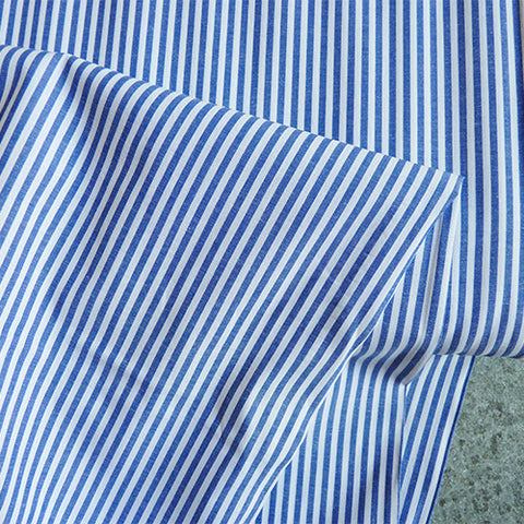 Cotton Stripe Shirting - Nautical Blue