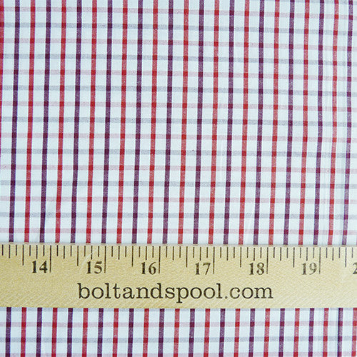gingham cotton shirting burgundy red