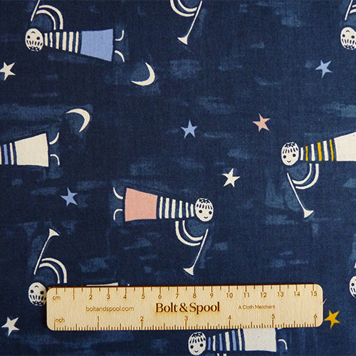 Cotton and Steel : Noel - Angels Singing Navy quilting cotton