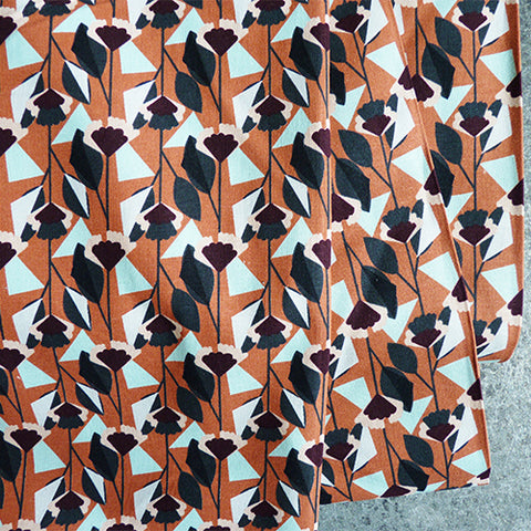 Cotton and Steel : Emilia - Florence Burnt Orange floral Canvas
