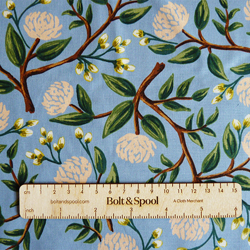 Cotton + Steel : Rifle Paper Co. Wildwood - Peonies Dusty Blue floral quilting cotton fabric