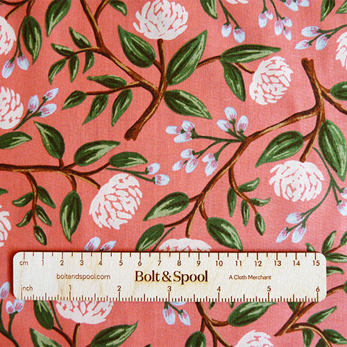 Cotton + Steel : Rifle Paper Co. Wildwood - Peonies pink floral quilting cotton fabric