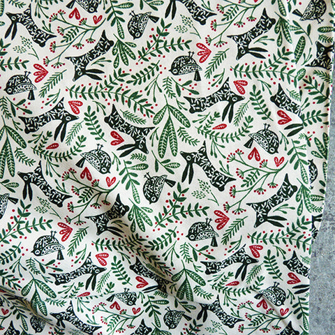 Cotton + Steel : Winter Dreams - Best Buddies Spruce rabbit bird quilting cotton fabric