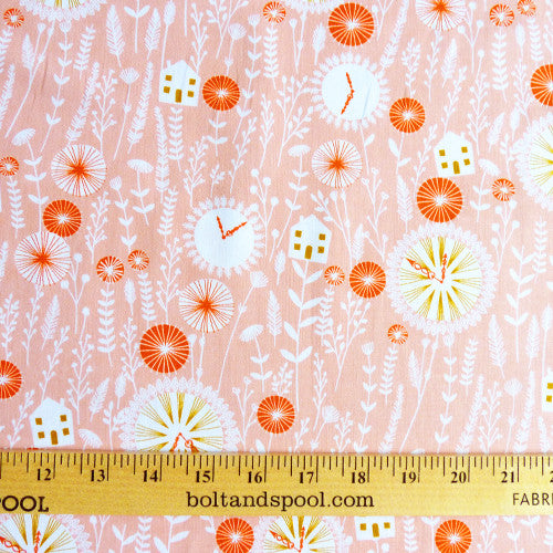 dashwood studio cotton fabric cuckoos calling house dusty pink
